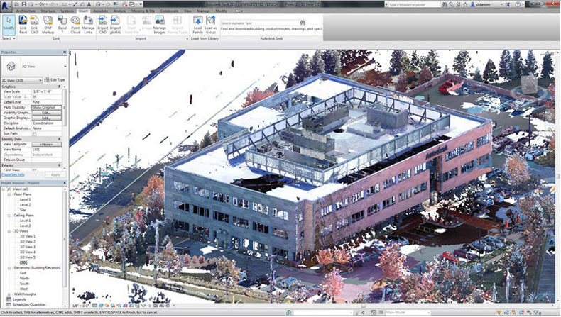 Recap scanned data shown in Revit